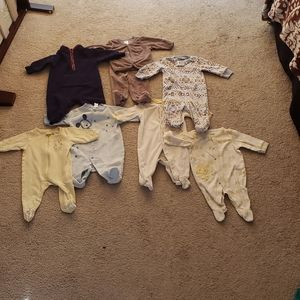 Lot of 7 0 to 3 months footsie pajamas